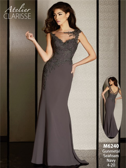 Atelier Clarisse M6240 Dress Illusion Neckline Asymmetrical Waist V-Back