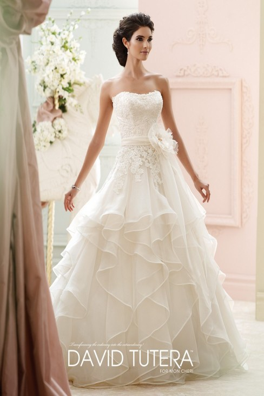 David Tutera 215270 Guinevere Dress Organza Ruffled Ball Gown Sweep Train