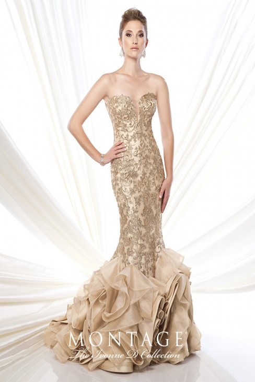 Ivonne D 215D01 Mermaid Dress Sweetheart Bust Lace Appliques