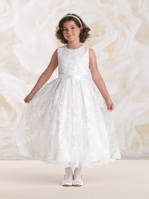Joan Calabrese 115316 Floral Lace Overlay Satin Ribbon Waist