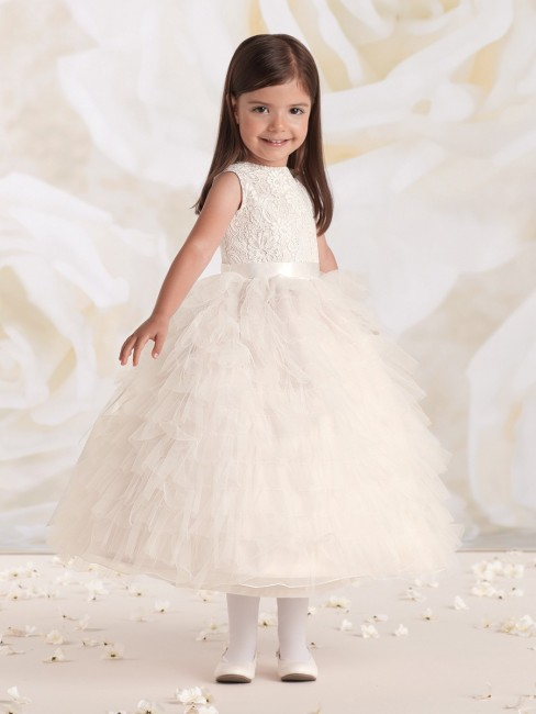 Joan Calabrese 115326 Jewel Neck Tulle Ruffles A-Line Silhouette