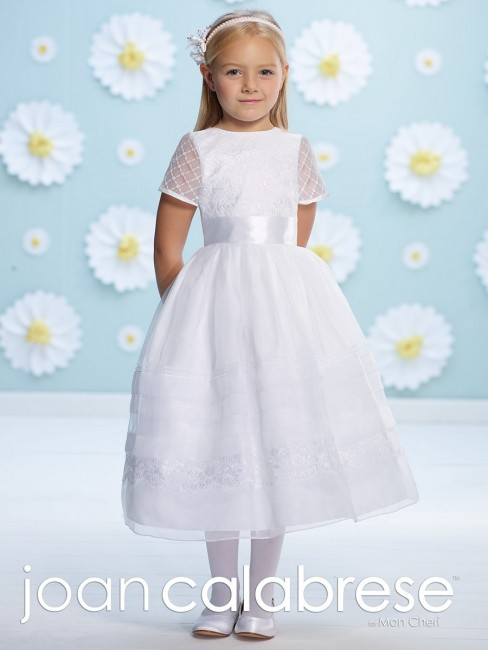 Joan Calabrese 116362 Lace Sheer Sleeve Flower Girl Dress