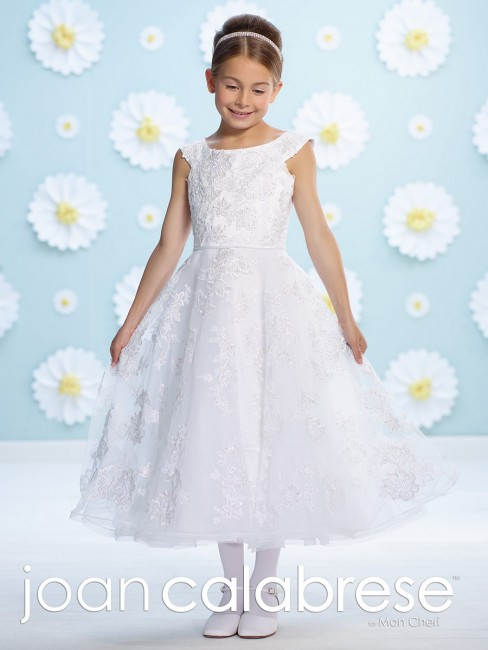 Joan Calabrese 116371 Embroidered Lace Scoop Neck Flower Girl Dress