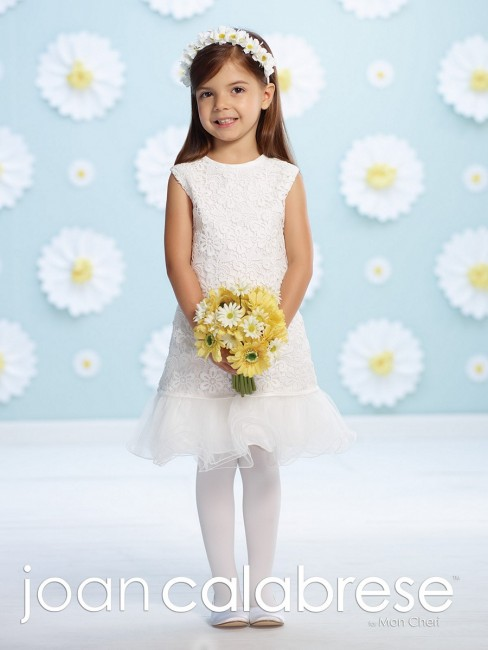 Joan Calabrese 116398 Venise Lace Knee-Length Flower Girl Dress