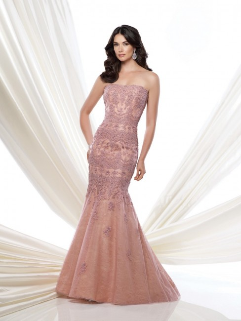 Montage 115966 Strapless Tulle Allover Lace Trumpet Skirt