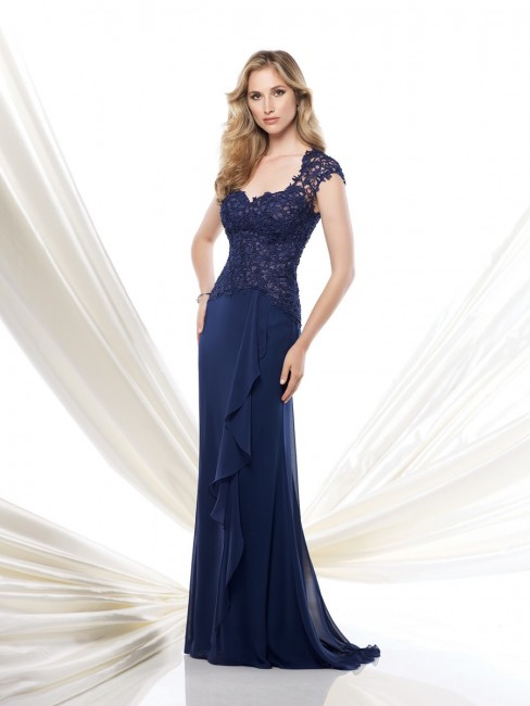 Montage 115967 Cap Sleeve Asymmetrical Waistline Sweep Train