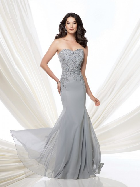 Montage 115969 Strapless Chiffon Belted A-line Silhouette