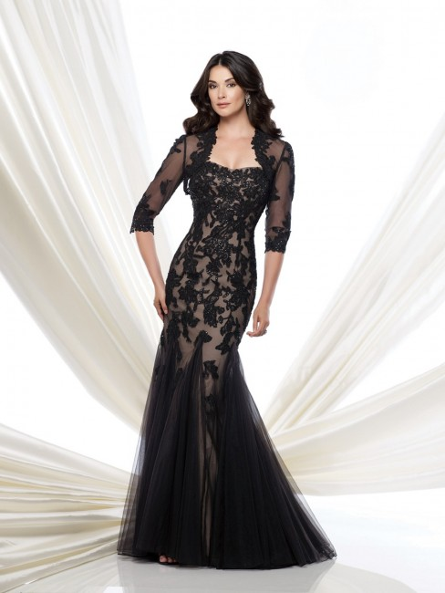 Montage 115978 Strapless Lace Trumpet Skirt Sheer Bolero