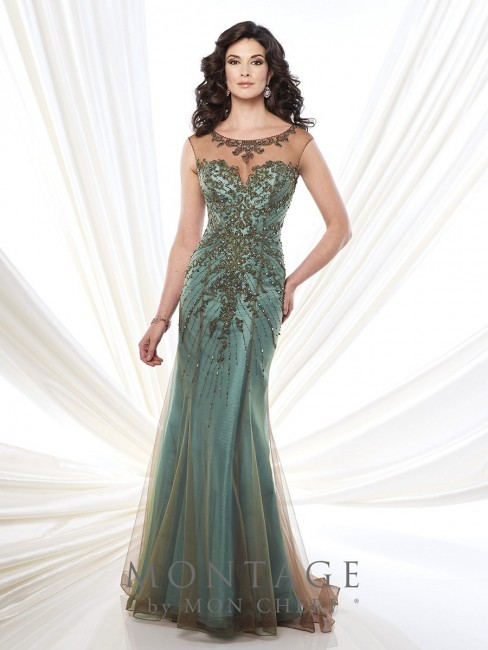 Montage 215911 Dress Two-Tone Chiffon Fit-and-Flare Illusion Neck Beaded