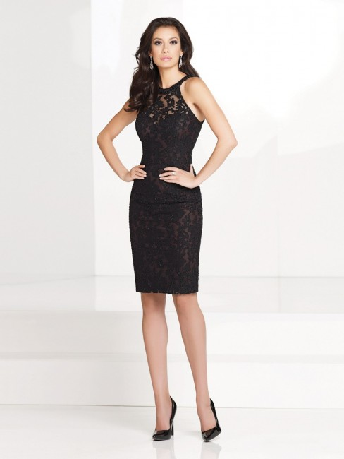 Social Occasions 115862 Illusion Lace Modified Halter Neck