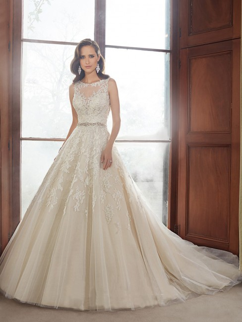 Sophia Tolli Y21520 Carson Dress Tulle Sheer Decolletage Ball Gown