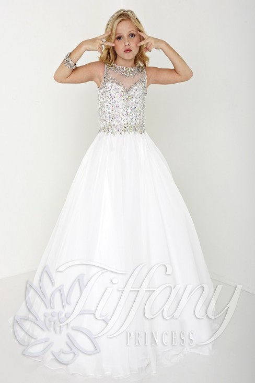 Tiffany Princess 13426 Dress Chiffon Illusion Neckline Sweetheart Bodice