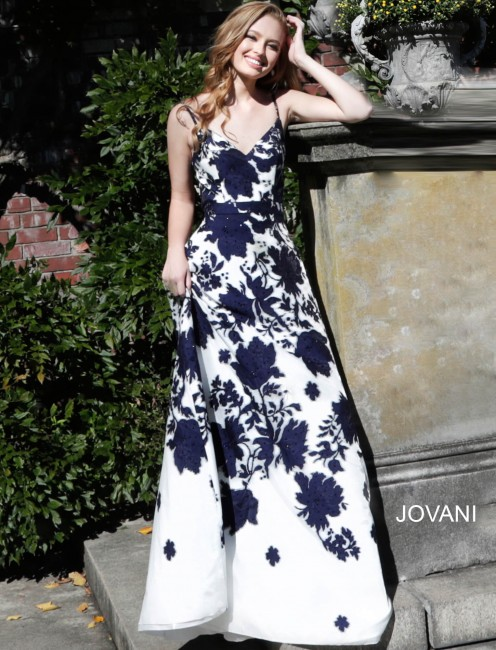 Jovani 57101 Floral A-line Formal Gown