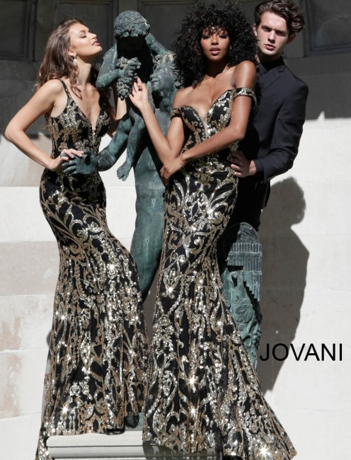 Jovani 63349 Off-The-Shoulder Sequin Prom Gown