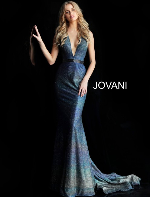 Jovani 63971 Plunging Halter Neck Long Party Dress