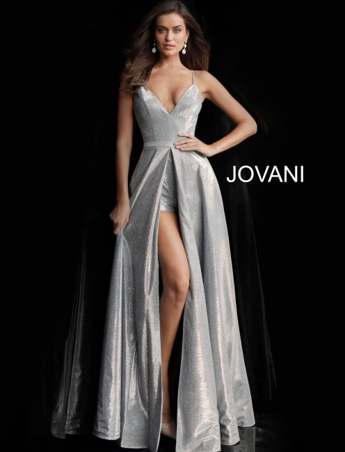 Jovani 66284 Center Slit Metallic Formal Dress