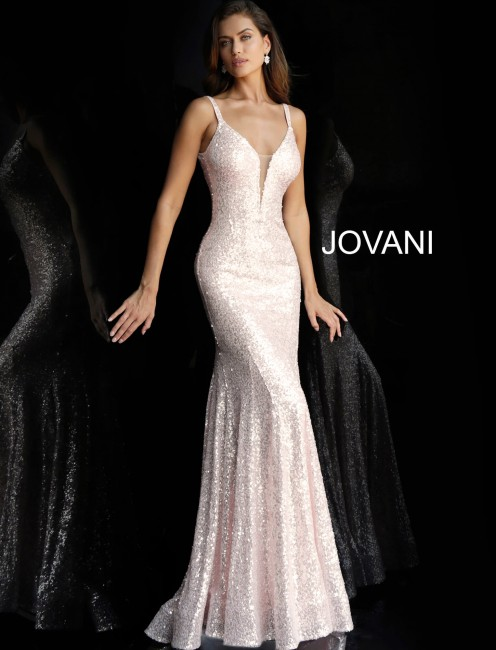 Jovani 66383 Plunging V-Neck Sequin Long Party Dress