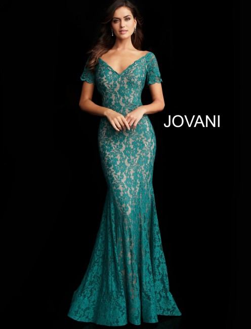 Jovani 66730 Short Sleeve Lace Formal Gown