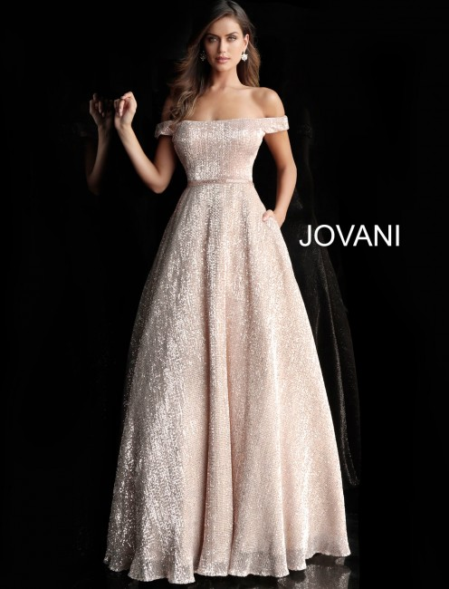 Jovani 66951 A-line Sequin Prom Gown