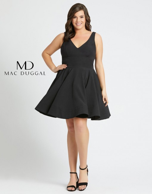 Mac Duggal 48771F V-Neck Plus Size Short Evening Dress