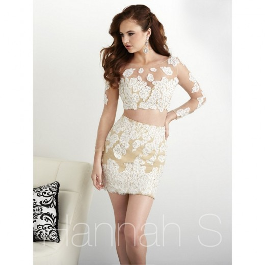Hannah S 27024 Lace-Appliqued Dress