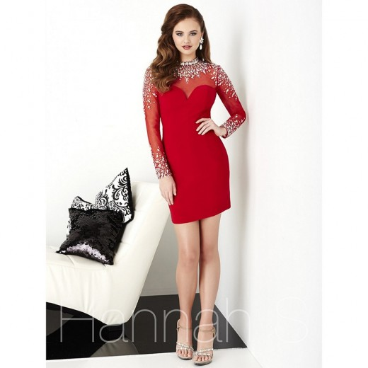 Hannah S 27056 Illusion Sleeve Dress