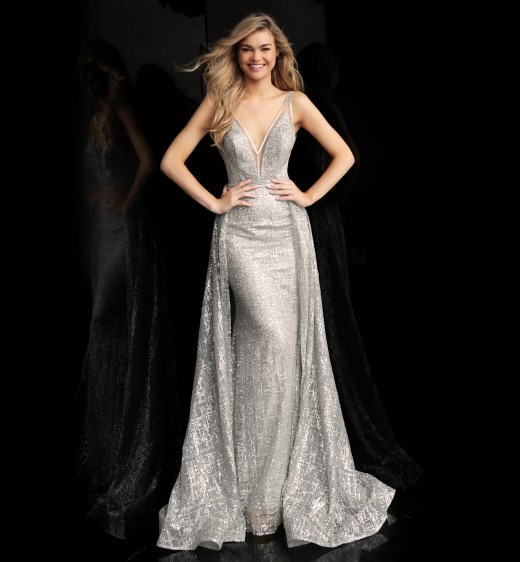 Jovani 62515 Plunging Neck with Overskirt Long Party Dress