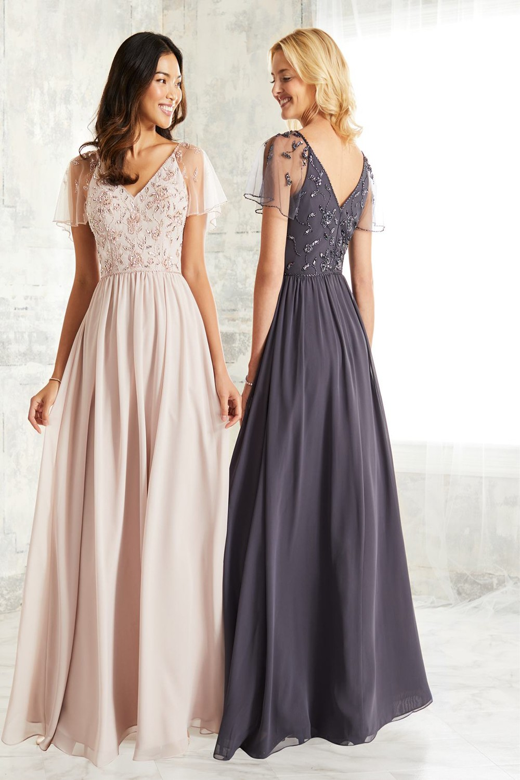 Sheer Floral Lace Sleeves Chiffon Dress Graduation Wedding Party Bridesmaid dress Prom sz-637 Bridal Chiffon dress