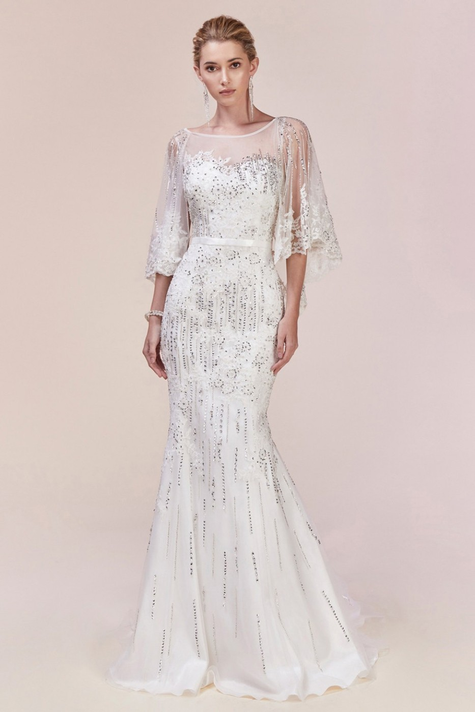 Andrea And Leo 5263 Cape Sleeve Bridal Gown