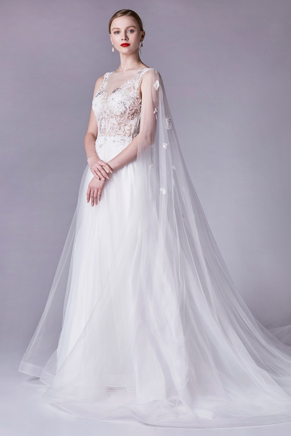 Andrea And Leo A0245 Sheer Bodice With Cape Wedding Gown