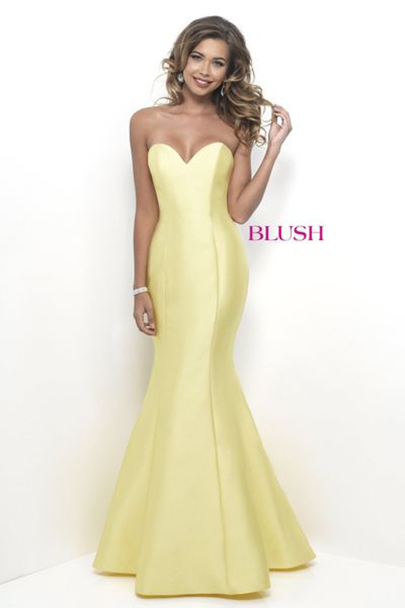 Yellow Long Strapless Prom Dresses