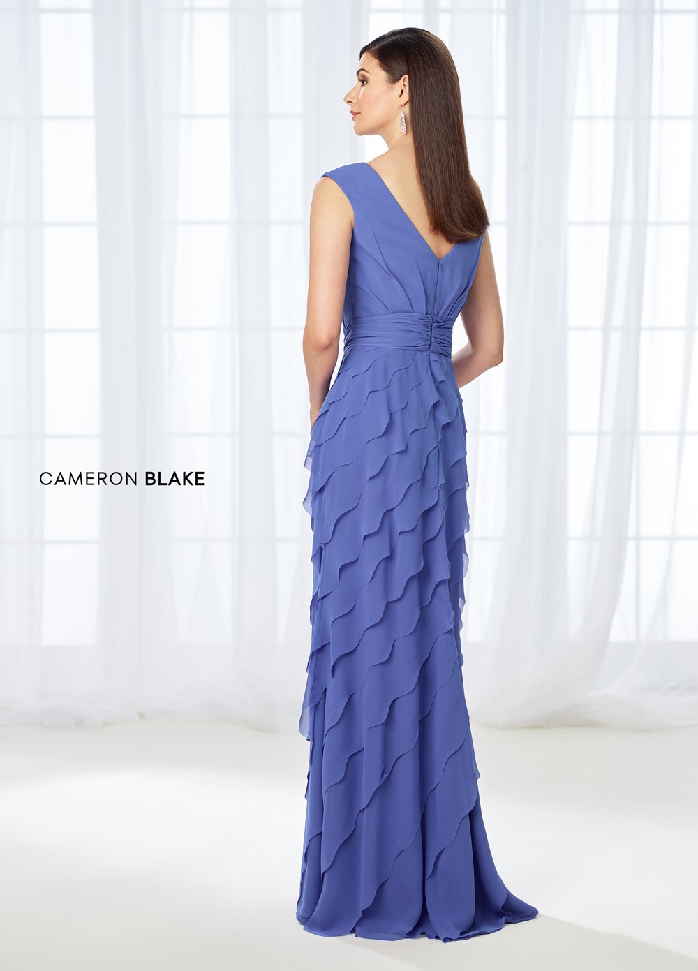 Cameron Blake 118668 Tiered Skirt Evening Gown | MadameBridal.com