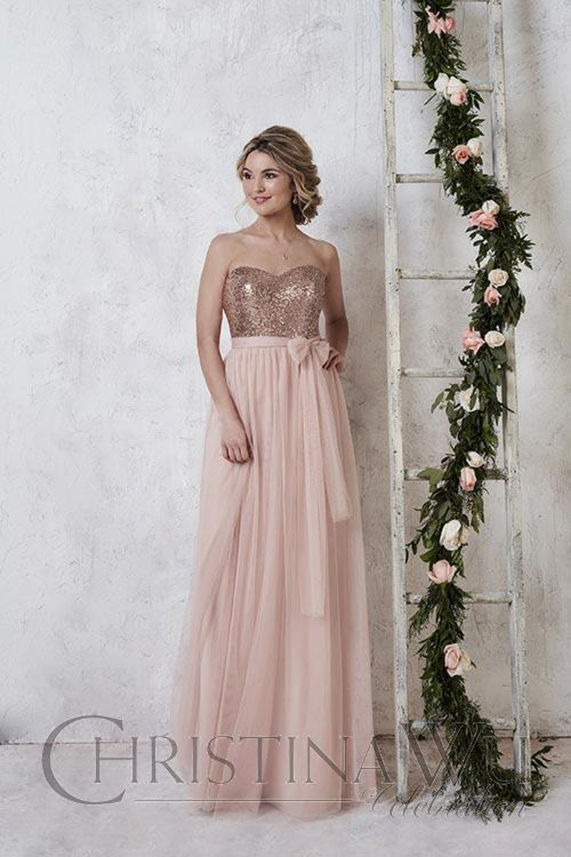 Christina Wu 22725 Sequin Tulle Strapless Bridesmaid Dress