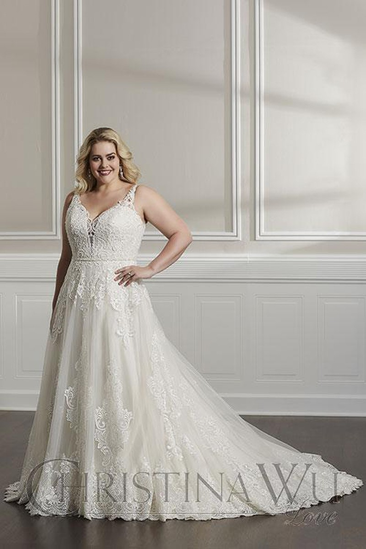 Christina Wu 29320 Plunging V-Neck Plus Size Wedding Dress