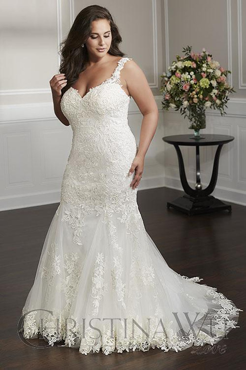 christina wu 29323 sweetheart neck plus size wedding gown