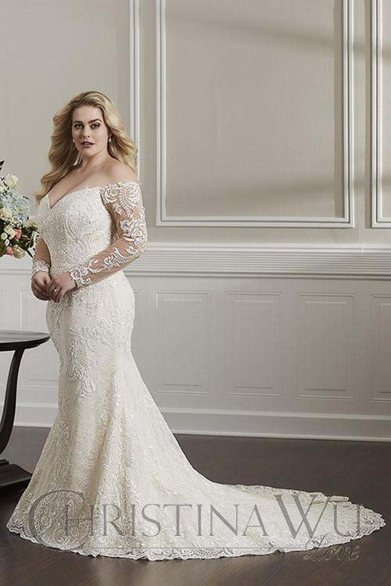 Christina Wu 29325 Long Sleeve Plus Size Wedding Gown