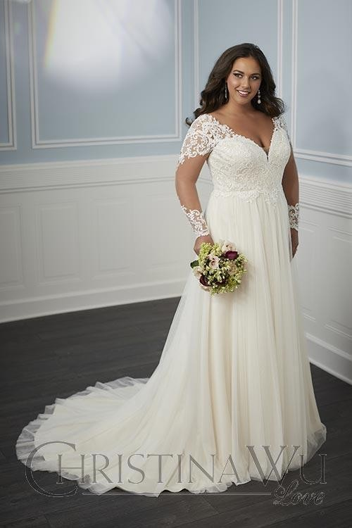 Christina Wu 29345 Long Sleeve Plus Size Bridal Gown