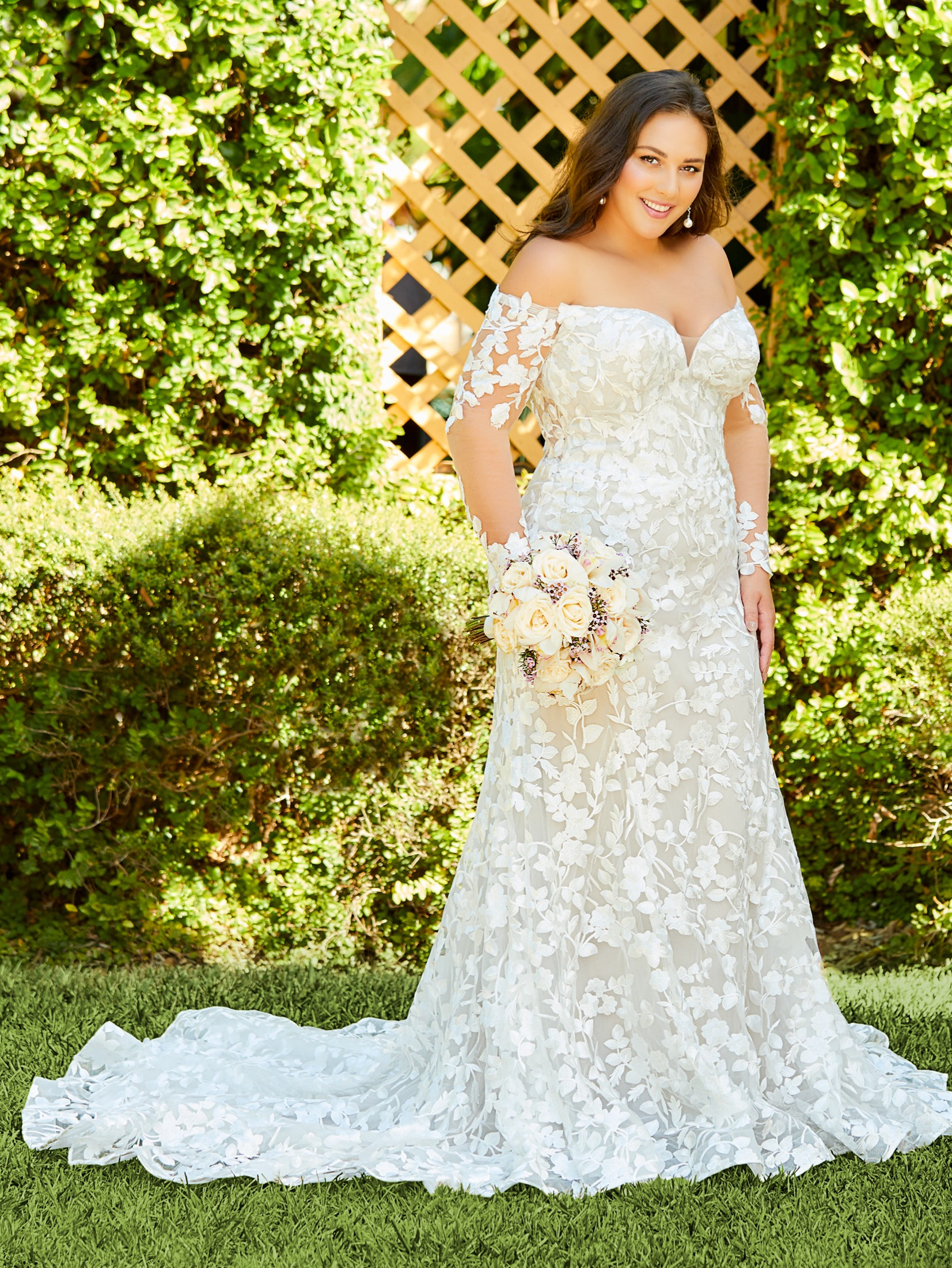 Christina Wu 18 Off The Shoulder Long Sleeve Plus Size Wedding Gown