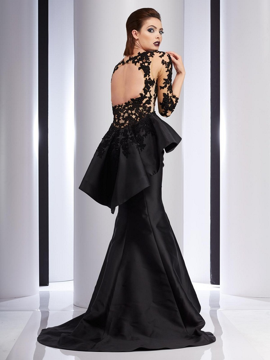Clarisse Couture 4701 Pleated Peplum Evening Dress