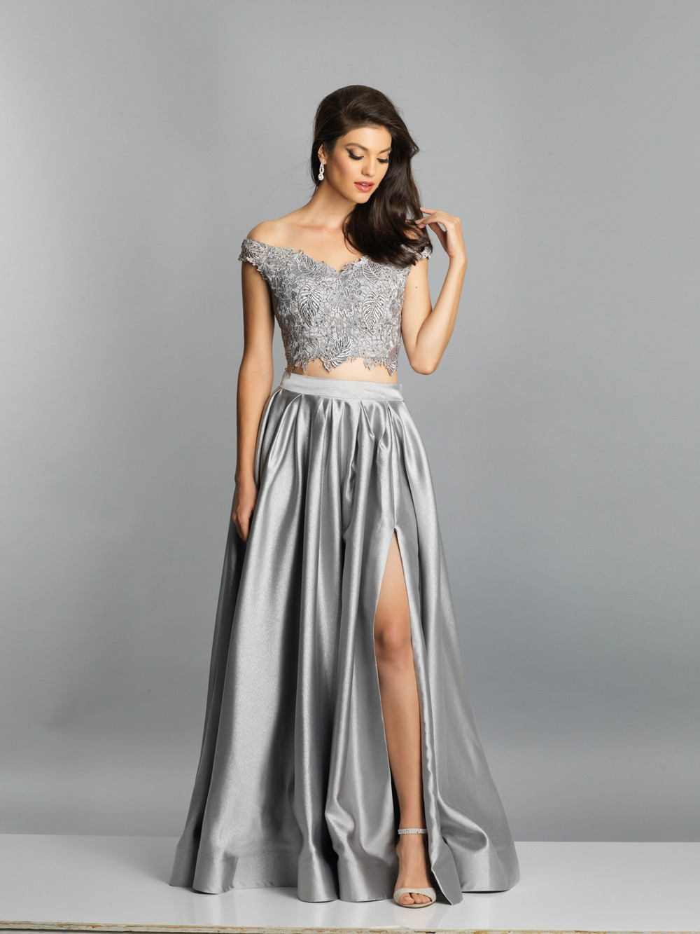 a15ef9f0779e ... Dave and Johnny A7796 Slit Skirt Two Piece Prom Dress