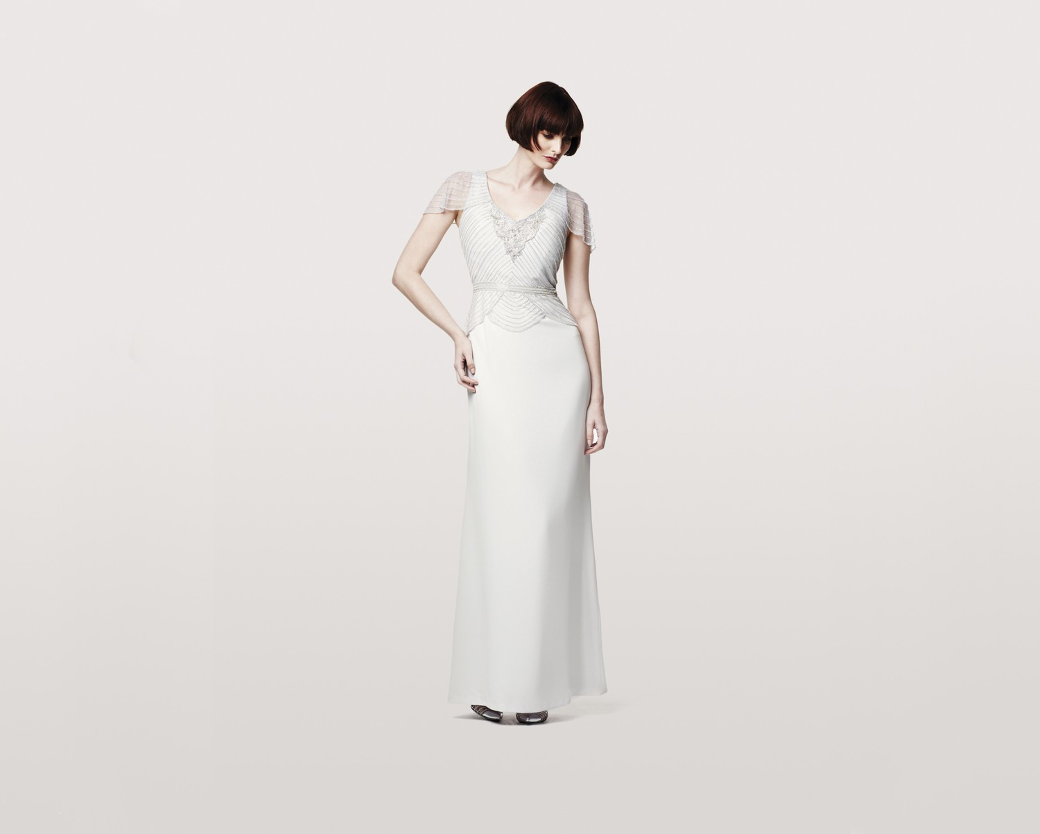 A Line Wedding Gown With Sleeves: Daymor Couture 151 Dress V-Neckline Cap Sleeves A-line