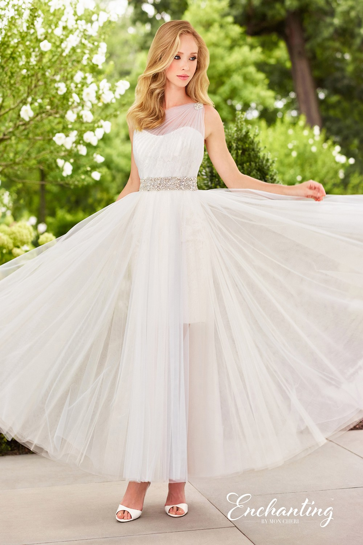 Enchanting by Mon Cheri 118147 One-Shoulder Destination Wedding Gown ...