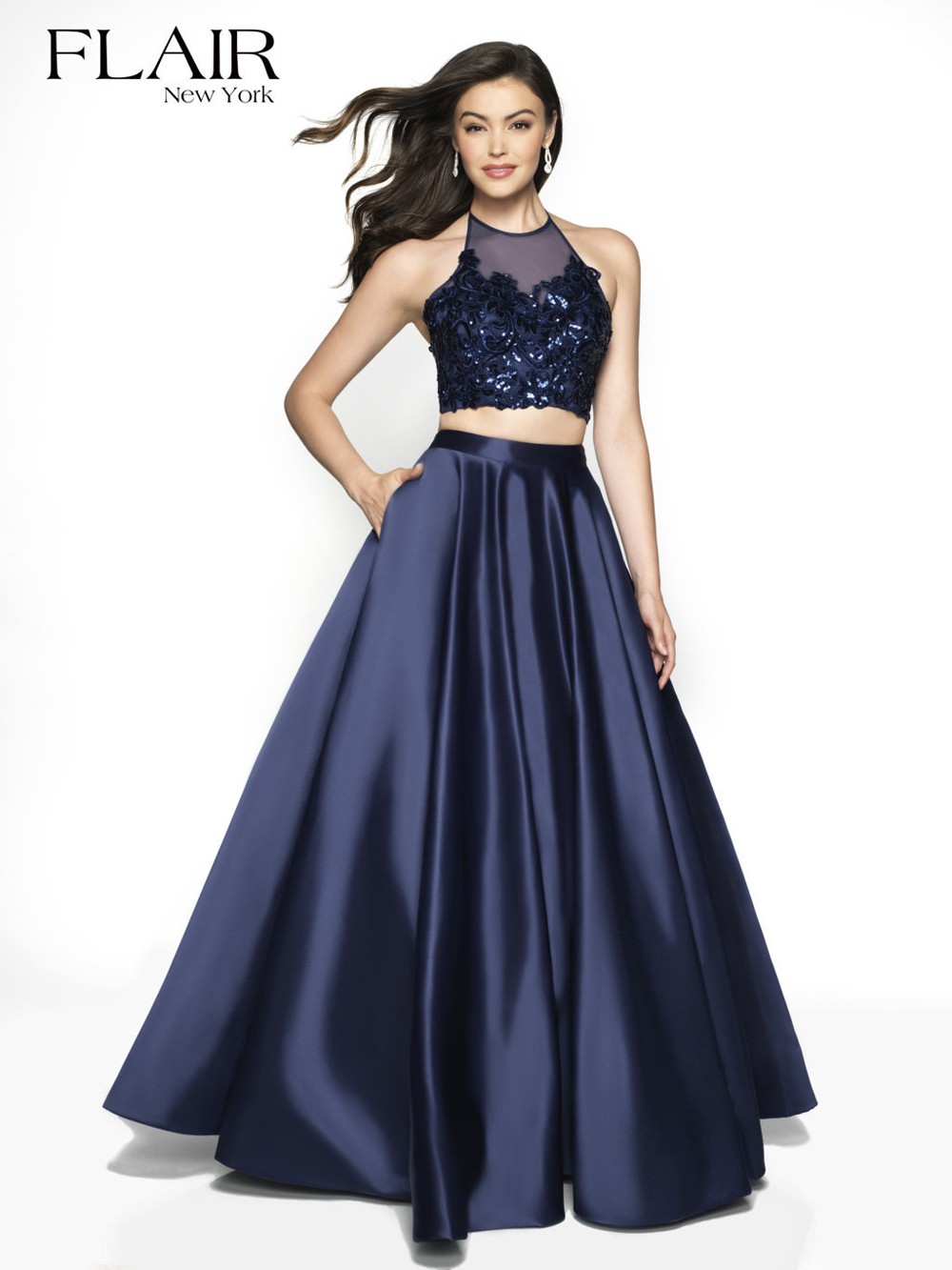 a4772464 Flair NY 19003 Halter Top Two Piece Prom Dress