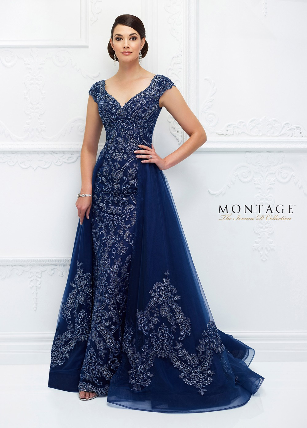 40a9cbe936 Ivonne D Exclusively for Mon Cheri 118D05 Fitted Evening Dress with Detachable  Overskirt