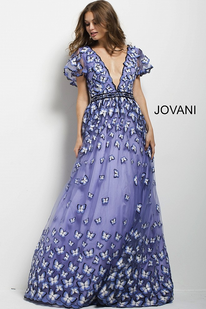 Jovani 47804 Embroidered A-line Evening Dress | MadameBridal.com