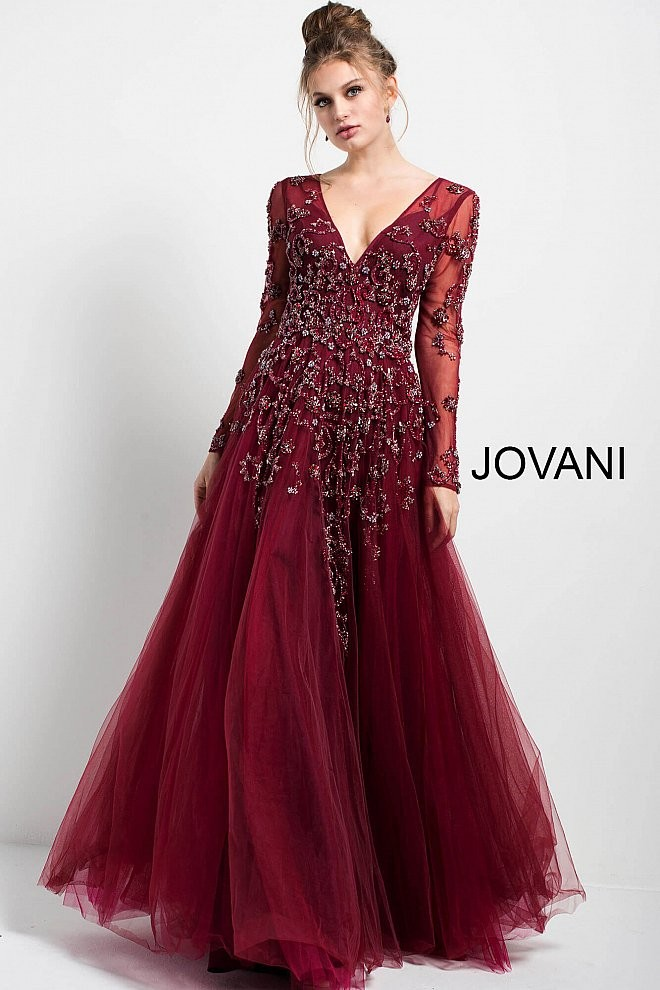 Jovani 51587 Long Sleeve A,line Mother of the Bride Dress