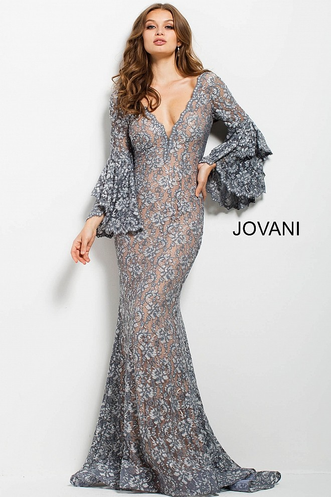 Jovani 57048 Bell-Sleeve Evening Dress | MadameBridal.com