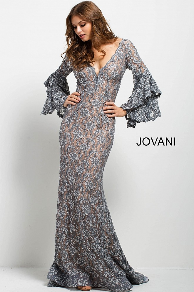 Jovani 57048 Bell Sleeve Evening Dress Madamebridalcom