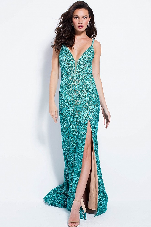 Jovani 58433 High Slit Lace Prom Dress