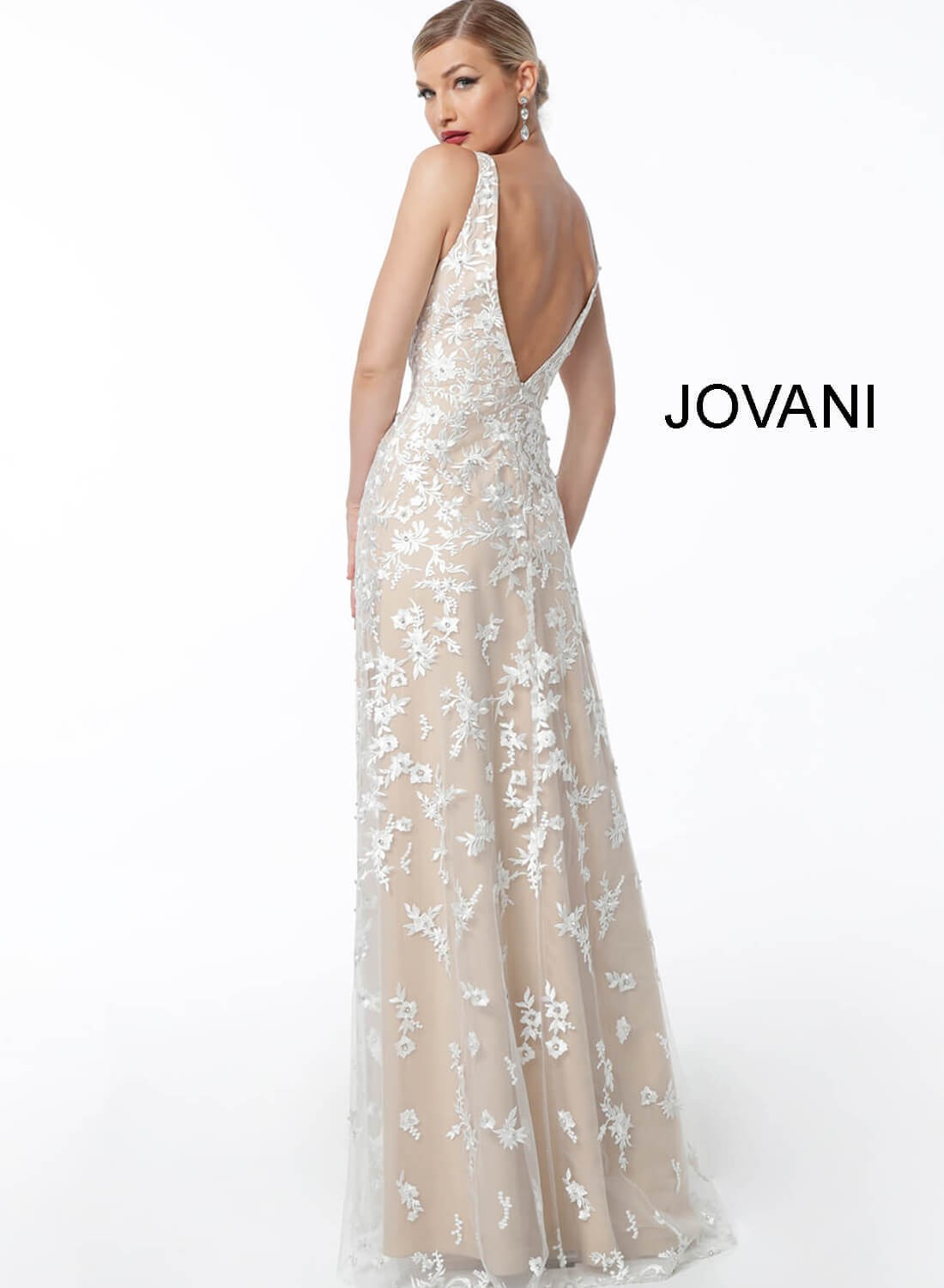 e5d22b98752 ... Jovani 62458 Plunging Neckline Evening Gown With Overskirt